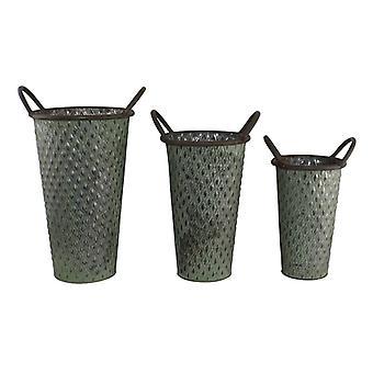 Set di 3 fioriere di zinco alte in verde