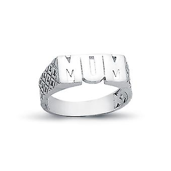 Jewelco London Rhodium Plated Sterling Silver MUM Signet ID Ring 6mm