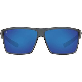Costa Del Mar Mens Rincon Polarized Rectangular Sunglasses - Matte Smoke Crystal/Grey Blue Mirrored - 63 mm