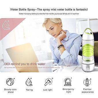Bpa Free Sport Smart Reminder Wasserflasche Nebel Sprüher mit Sos LED Licht