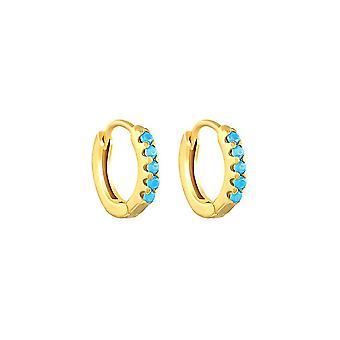 Ohr Clips geometrische Runde S925 Micro eingelegt Türkis Ohrringe für den täglichen Gebrauch