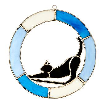 Handcrafted Stained Glass Cat Hanging Ornament | Time To Wake Up | Gift Item