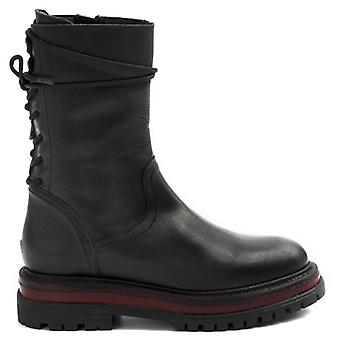 Biker Ankle Boot From Women Zoe Black Leather With String On The Back