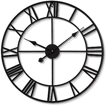 Retro Wanduhr aus Metall, Vintage Wanduhr mit Großen Römischen Ziffern 40cm, Stille Dekorative Uhren