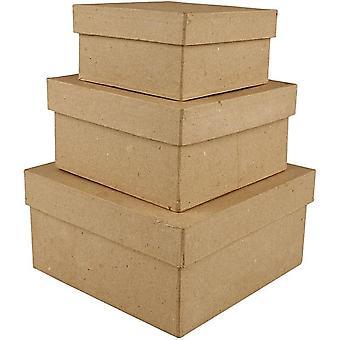3 paperi Mache neliö pinoaminen laatikkoa - suurin 15x15x7.5cm | Papier Mâche laatikot