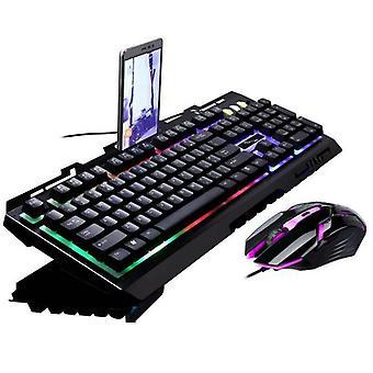 (Black) Gaming Keyboard Mouse Set with Mobile Phone Holder LED USB For PC Desktop Laptop
