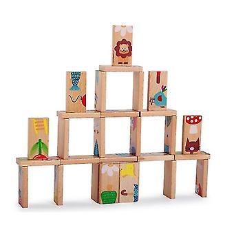 خشبية دومينو الفاكهة الحيوان تحديد كومة برج لعبة الأطفال التعلم اللعب التعليمية