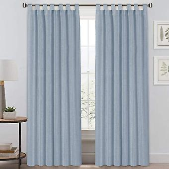 2X tab top natural linen blended airy curtains for living room home decor reducing bedroom drape panels, stone blue