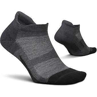 Feetures Elite Max Cushion No Show Tab Unisex Running Socks, Gray - Size Large