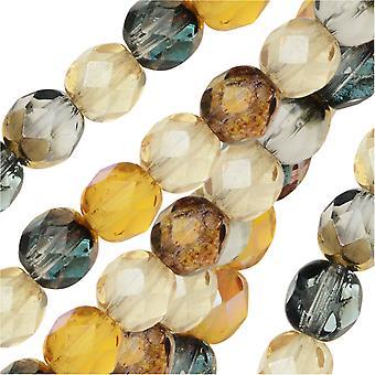 التشيكية النار مصقول الخرز الزجاج، جولة الأوجه 6mm، 25 قطعة، العسل زبدة ميكس