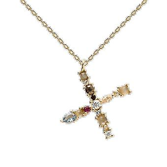 925 Sterling Silver English Letter Necklace S/ladies Necklace With Crystal Pendant