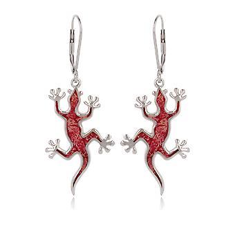 ADEN 925 Sterling Silver Coral Lizard Oorbellen (id 4491)