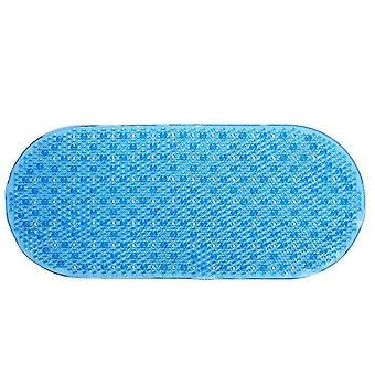 Liukumaton muovinen soikea kylpyamme suihkumatto, jossa kahva imukuppi(69 * 36cm)(Läpinäkyvän sininen)
