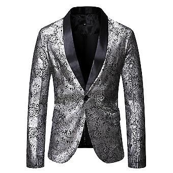 Mile Men's Casual Blazer Paisley Jacquard Suit Jackets Slim Fit Floral Print Stylish Blazer Coats Chic Jackets