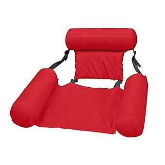 Inflatable Floating Bed Foldable Backrest Pool Hammock,red