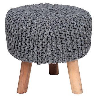 Käsintehty puuvilla punos jakkara neulottu ottomaani Pouf Jalka levätä pehmeä istuma-hiili