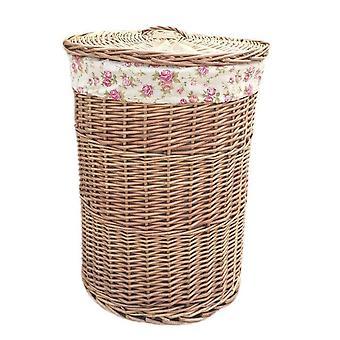 Malé lehké plané prádelní koše se zahradním růžovým obložením