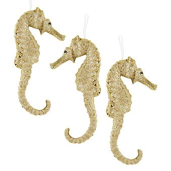 Coastal Champagne Gold Glittery Seahorses Christmas Holiday Ornaments Set of 3