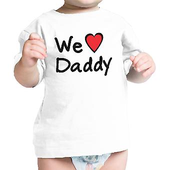 We Love Dad White Cute Baby TShirt Cotton Fathers Day Gifts For Dad