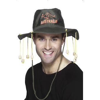 הרפתקן המגבעת האוסטרלי אוסטרלי למטה תחת תחפושת כובע אוסטרליה