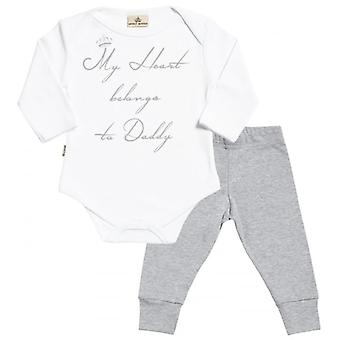 Spoilt Rotten My Heart Belongs To Daddy Babygrow & Jersey Trousers Outfit Set