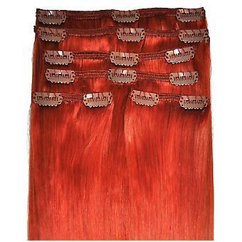 #350 koper - Clip in Hair Extensions - hoofd vol - #350 - koper