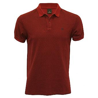 Scotch & Soda Classic Pique Polo Shirt With Geometric Pattern, Burgundy