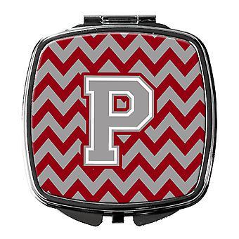 Letter P Chevron Crimson and Grey   Compact Mirror