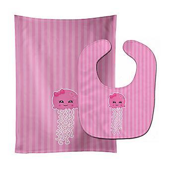 Carolines Treasures  BB8907STBU Nautical Pink Jellyfish Baby Bib & Burp Cloth