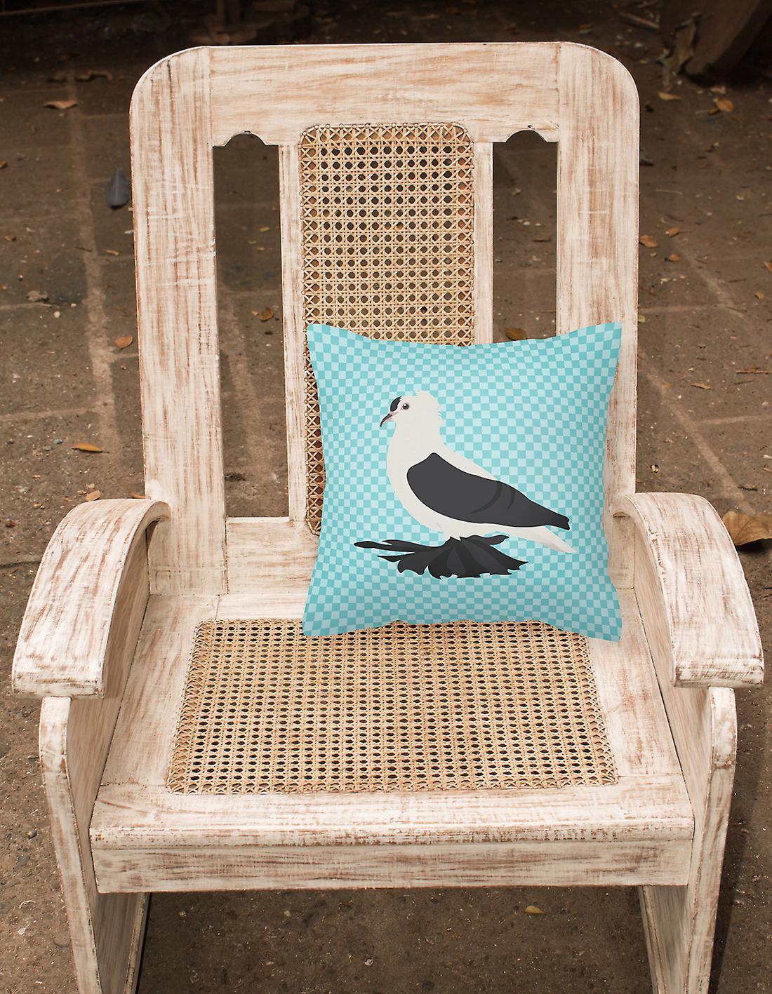 Saxon Fairy Swallow Pigeon Blue Check Fabric Decorative Pillow - Dégagement ZF3ez