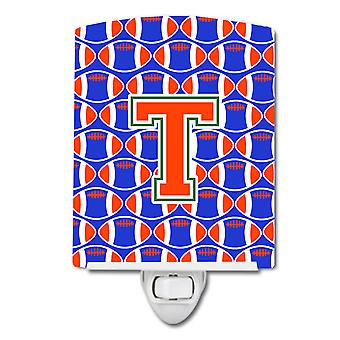 Letter T Football Green, Blue and Orange Ceramic Night Light