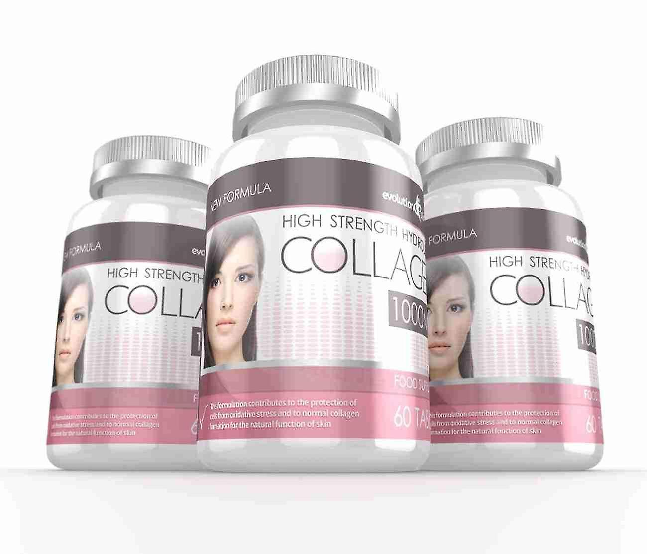 Hydrolysed Collagen High Strength 1,000mg for Hair, Skin and Nails + Vitamin C - 180 Tablets - Skin and Joint Health - Evolution Slimming