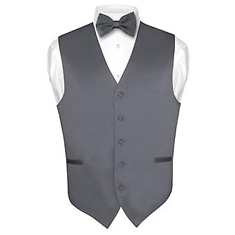 Men's Dress Vest & BowTie Solid Bow Tie Set for Suit or Tux
