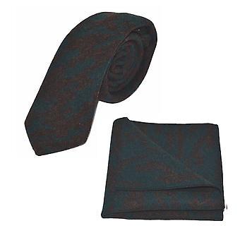 Luxury Arabic Dark Teal Pattern Tie & Pocket Square Set
