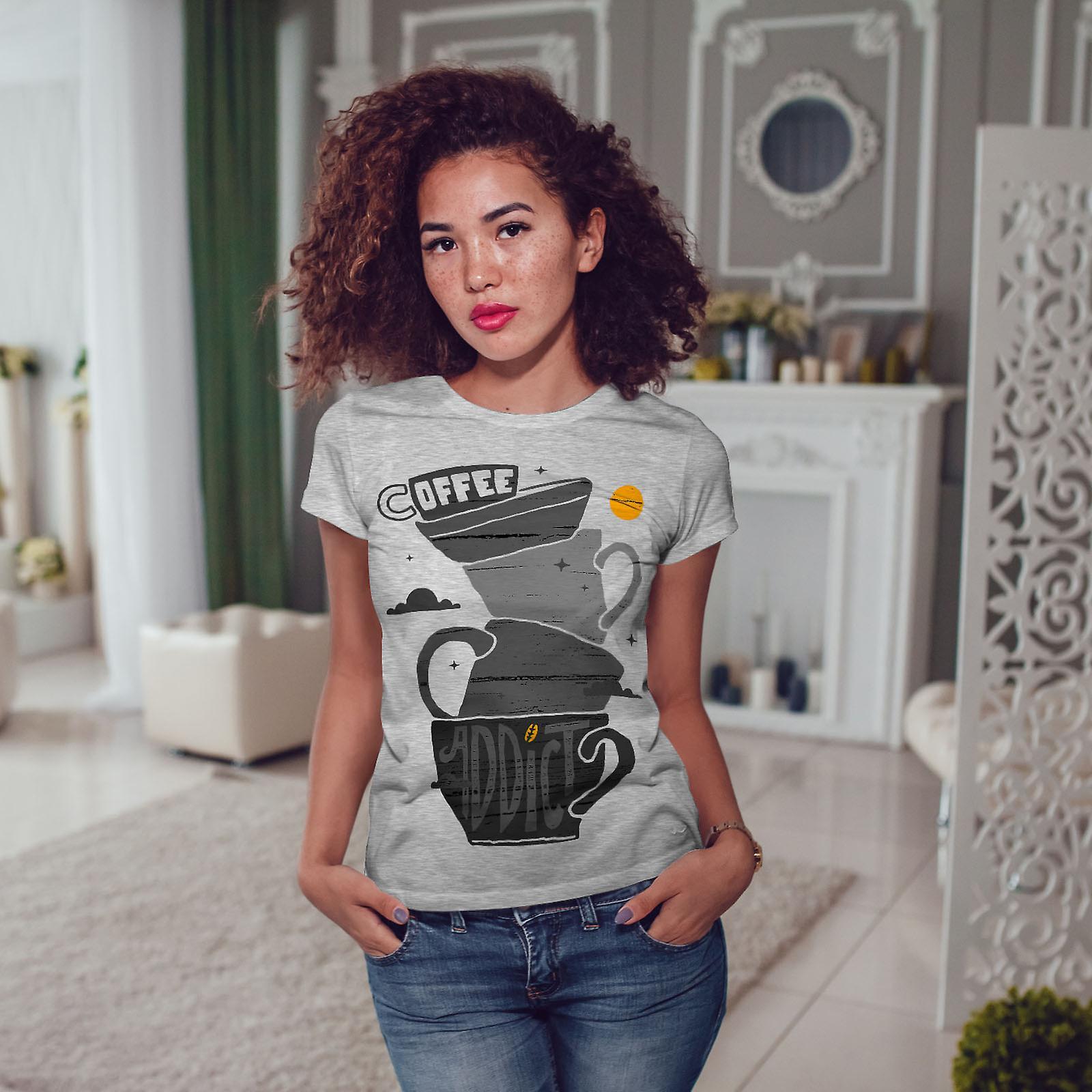 Café accro GreyT-Chemise mode femme | Wellcoda