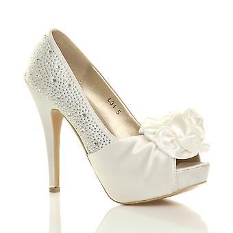 Ajvani kvinnors kväll bröllop prom part blomma diamante högklackade plattform peep toe skor sandaler pumpar
