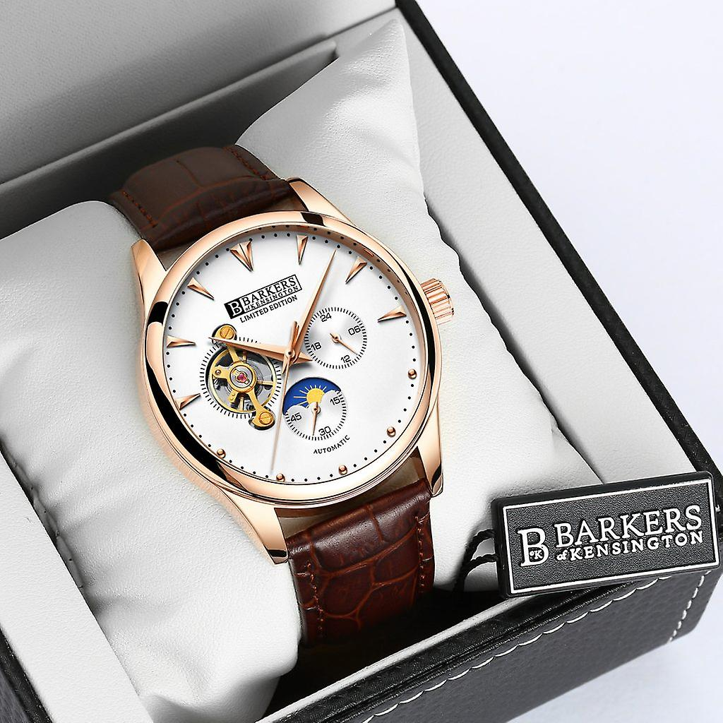 Barkers of Kensington Automatic Rose and Steel Mens Watch with Brown Leather Strap