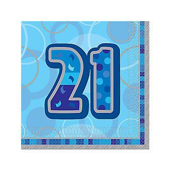 Anniversaire Glitz bleu - 21e anniversaire - serviette