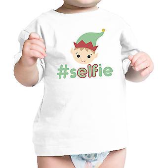 Hashtag Selfie Elf Vauvan t-paita valkoinen hauska joululahja vastasyntynyt