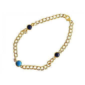 Gemshine kvinders armbånd forgyldt safir turkis blå kæde glat