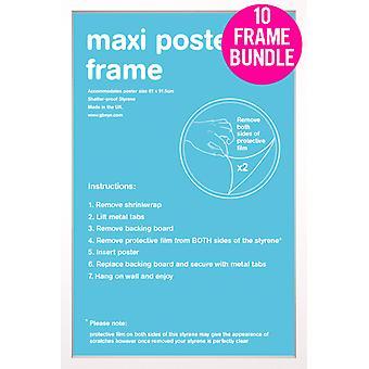 GB julisteita 10 valkoinen Maxi juliste kehyksiä 61x91.5cm nippu