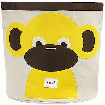 Toy store and laundry container Cylindrical organic cotton Monkey