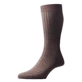 Pantherella Laburnum Rib Merino Wool Socks - Dark Olive Mix