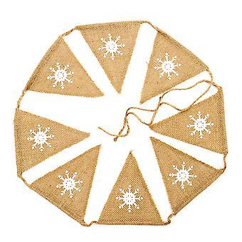 TRIXES 1 meter Vintage säckväv triangel Bunting flerfärgat snöflingor