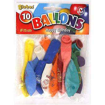 Globos glad fødselsdag balloner 10 stykker