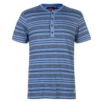 Pierre Cardin męskie Grandad kołnierz T Shirt V szyi Tee Top z krótkim rękawem Stripe
