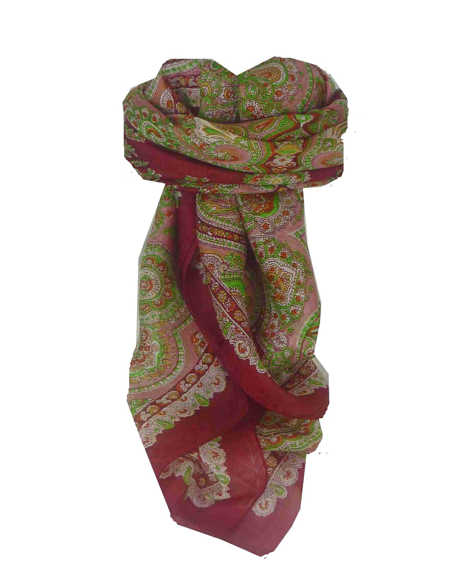 Mulberry Silk Traditional Square Scarf Madras Red by Pashmina & Silk