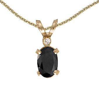 LXR 14k or jaune oval onyx et diamant filagree pendentif 0.39 ct