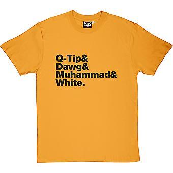 Een stam genaamd Quest line-up gele mannen ' s T-shirt