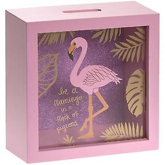 18X18Cm vidrio Flamingo dinero caja verano tema Inicio D rosada cor